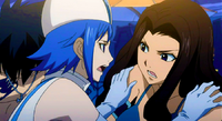 Juvia tries to stop Cana from asking Gray