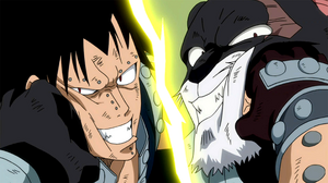 Gajeel and Panther Lily fighting