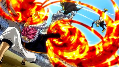 Natsu attacks the Twin Dragons