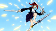 Erza deflecting Evergreen's blade with feet.jpg
