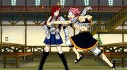 Erza dodges Natsu's punch