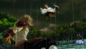 Bickslow and Elfman vs. Kawazu and Yomazu