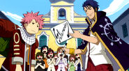 Bora gives Natsu his autograph