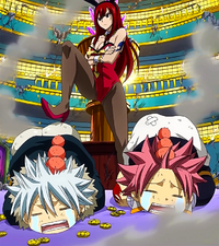 Erza dominates Haru and Natsu