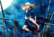 Natsu carrying a drunk Lucy
