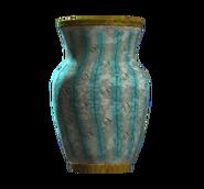 Empty teal vaulted vase