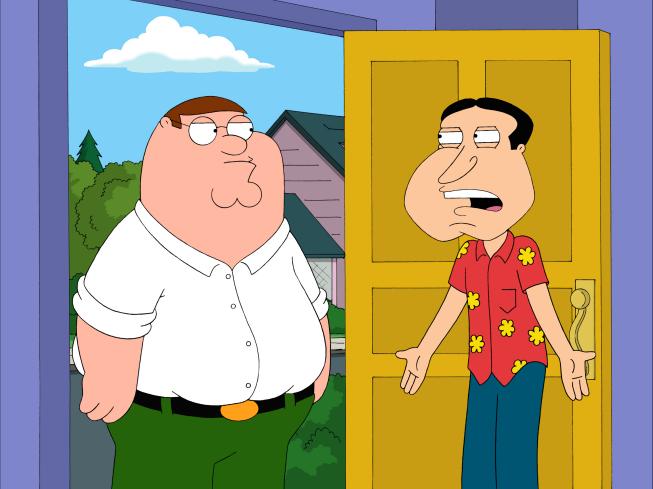 Deciding to visit Quagmire at  Quagmire Family Guy