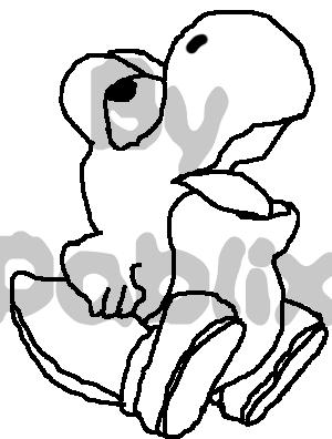 File:Bebé yoshi para colorear - no transparente.png