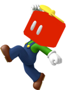 Luigi with a Propeller Block