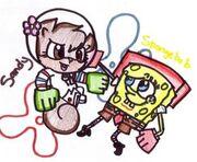 Spongebob and Sandy karate by Wierdo gurl