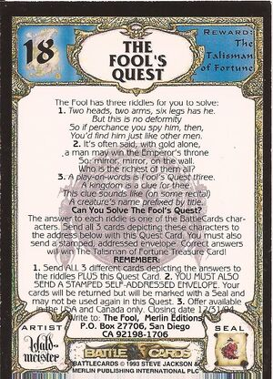 18 The Fool's quest US back
