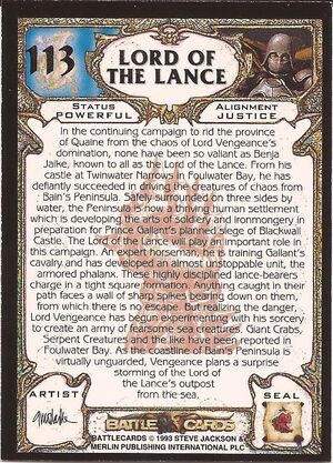 113 Lord of the Lance US back