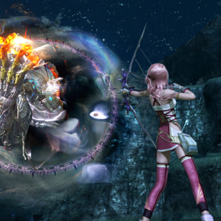 Serah fights Gogmagog.