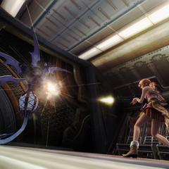 Vanille destroys a Vespid Soldier with a PSICOM gun.