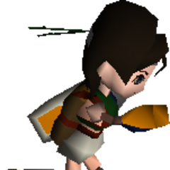 Yuffie with a parachute backpack.
