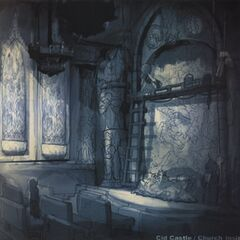 Concept art of the inside of the church in Lindblum in <i><a href=
