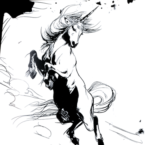 Artwork of a Crazy Horse.