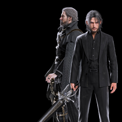 A full-body, CG render of Regis and an older Noctis.