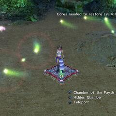 Yuna in the cavern in <i>Final Fantasy X-2</i>.