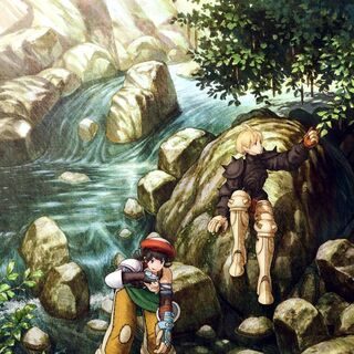 Artwork of Luso with Ramza from <i>Final Fantasy Tactics: War of the Lions</i>.