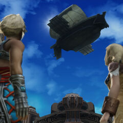 Vaan watches an airship fly overhead.