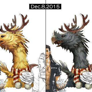 Artwork depicting a yellow and black chocobo that was released for Christmas, 2015.