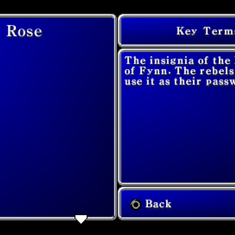 Key Terms menu in the PSP version.