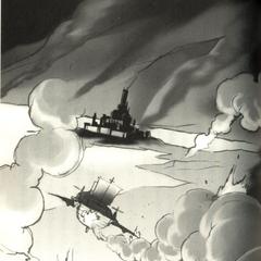 Artwork of the <i>Enterprise</i> making a crash landing at the Dwarven Castle, from the <i>Final Fantasy IV</i> official novelization.