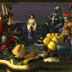 Yuna and her guardians ride the shoopuf in <i>Final Fantasy X</i>.