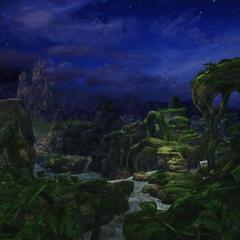 The entrance to Pinnacle Rocks, at night.