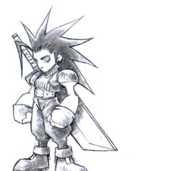 Concept art of Zack's field model in <i>Final Fantasy VII</i> by Tetsuya Nomura.