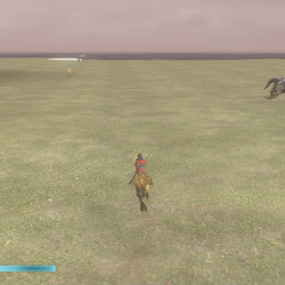 Riding a chocobo on the world map.