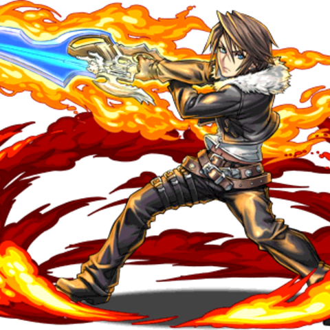 Squall brandishing the Lionheart for <i>Puzzle &amp; Dragons</i>.