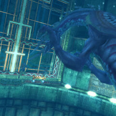 Tidus, Wakka and Rikku fight Evrae Altana in the sewers.