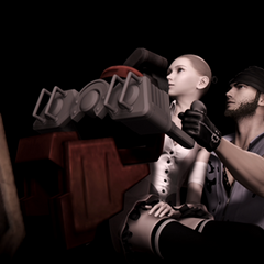 Unfinished version of a cutscene where Serah and Snow have no hair and Snow's stubble is dark.