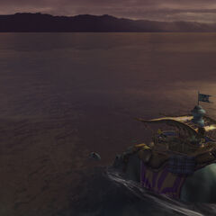 Shoopuf crossing the Moonflow in <i>Final Fantasy X</i>.