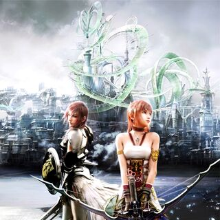 A promotional poster featuring Lightning and Serah in Valhalla.
