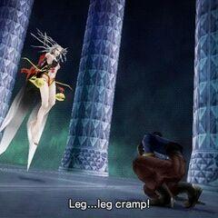 Laguna's leg cramp in <i>Dissidia 012</i>.