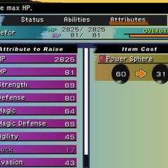 Aeon Attributes menu (PS2).