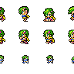 Set of Rydia's sprites.