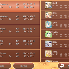 <i>Final Fantasy IV: The After Years</i> party selection screen (iOS/Android).