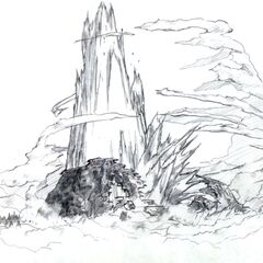 Concept art of Lifestream erupting from North Crater for <i>Final Fantasy VII</i>.