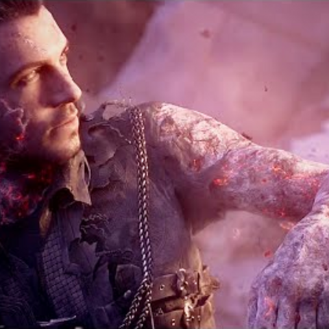 Nyx scarred after using the ring's powers in <i>Kingsglaive: Final Fantasy XV</i>.