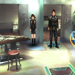 Squall and Selphie in their SeeD uniforms.