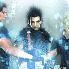 Promotional CG artwork of Zack with Angeal and Cloud.