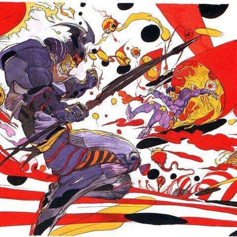 Artwork of Ricard fighting against <a href=