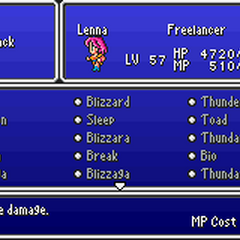 The Black Magic menu in the GBA version.