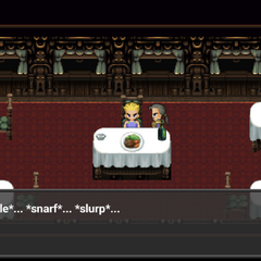 The party enjoy a meal in the Phantom Train (iOS/Android/PC).