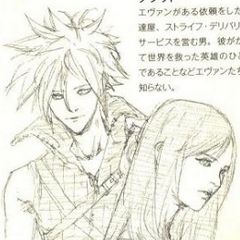 Artwork of Cloud and Tifa from <i>Final Fantasy VII Lateral Biography Turks -The Kids Are Alright-</i>.