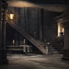 A stairway in Alexandria Castle's west tower.
